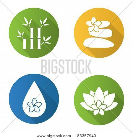Spa salon flat design long shadow icons set. Aromatherapy. Stones massage, aroma oil drop, spa flowers and bamboo with leaves. Vector silhouette illustration