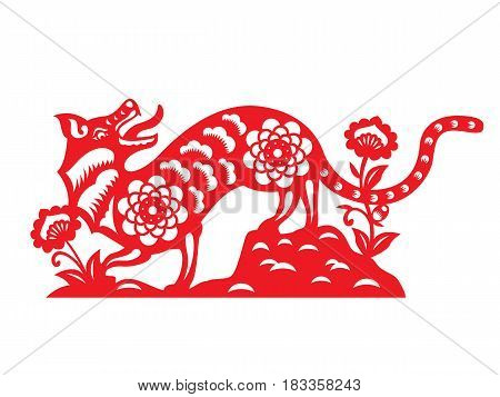 Red paper cut a dog zodiac and flower on earth symbols