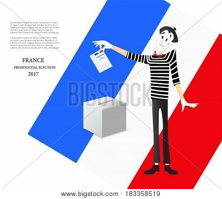Presidential elections in France. Illustration of a pantomime. The ballot