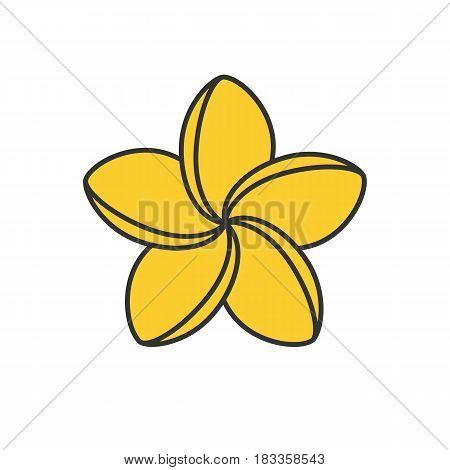 Spa salon plumeria flower color icon. Aromatherapy. Isolated vector illustration