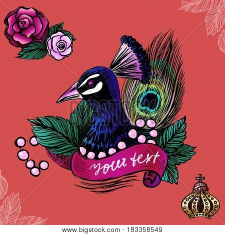 Illustration with peacock in pearls on roses background/Vector illustration with ink hand drawn peacock/Vector peacock/Peacock illustration/Colored ink hand drawn peacock