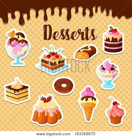 Pastry cakes and desserts on vector waffle. Cupcakes and tortes of tiramisu, brownie and charlotte pudding, chocolate brownie muffins and ice cream with fruit and berry for patisserie or bakery design