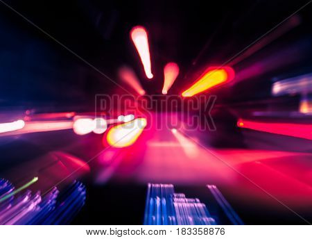 High-speed Vehicle Interior With Lights In Motion