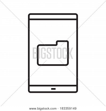 Smartphone file manager linear icon. Thin line illustration. Smart phone with folder contour symbol. Vector isolated outline drawing