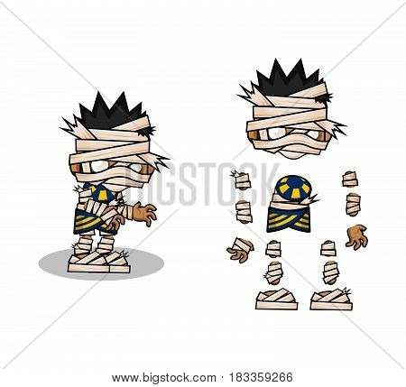 Mini Character mummy kit. cartoon  Vector Illustration design