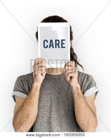 Adult male guy holding tablet care