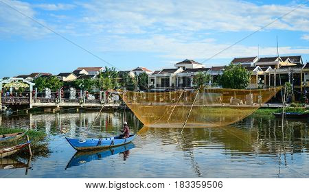 River Scene With Fishing Net In Hoi An, Vietnam