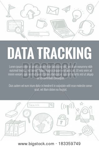 Vector Template For Data Tracking Theme With Hand Drawn Doodles Business Icon In Background.concept