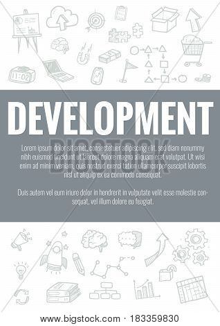 Vector Template For Development Theme With Hand Drawn Doodles Business Icon In Background.concept Fo