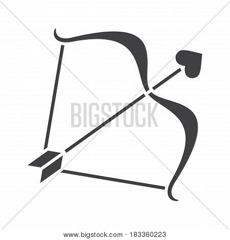 Cupid's bow and arrow glyph icon. Silhouette symbol. Negative space. Vector isolated illustration