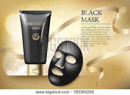 Ads template, blank skin care mockup with realistic black anti blackhead mask, plastic tubes of premium skincare product and gold tape on golden background.
