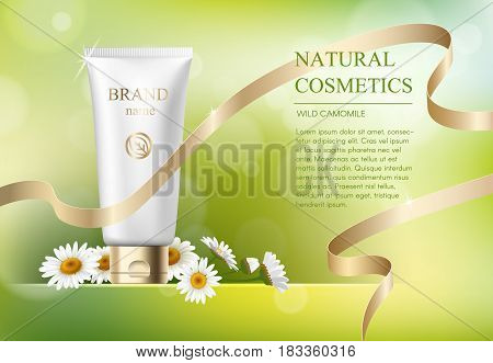 Ads template, blank skin care mockup with realistic daisy, plastic tubes for cosmetic products on green bokeh background. Wild camomile natural herbal cream tube