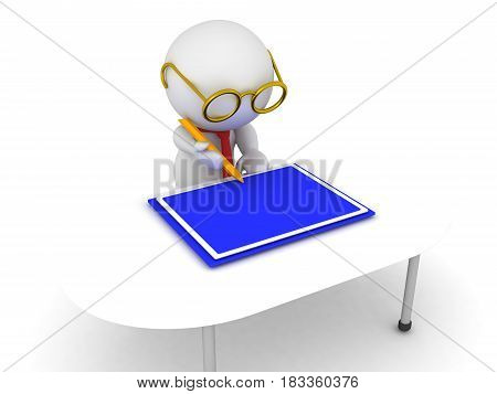 3D Illustration of architect drawing a blue print. He is holding a large yellow pencil.