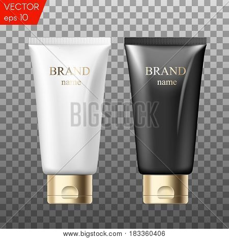 Realistic plastic tubes for cosmetic products. Beauty set of blank template containers for: gel of skincare, hand care cream, bb, face mask or foundation.