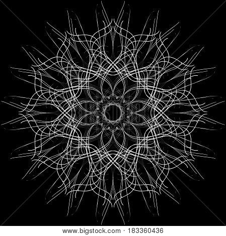 Openwork circular ornament. Decorative ornate pattern of curved lines. Raster illustration. White image on a black background.
