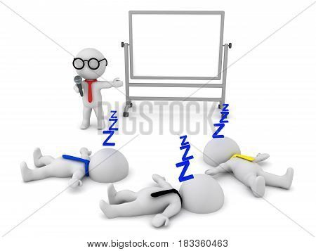 3D illustration of a boring presentation which puts people to sleep. Image depicting poor communication skills.