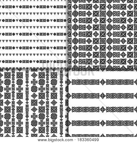 Celtic knot seamless black and white pattern set.