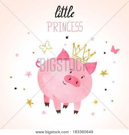 Little princess pig vector illustration. Cute piggy.