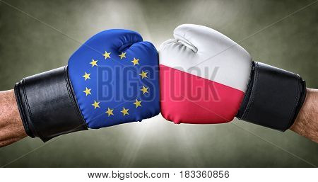A boxing match between the European Union and Poland