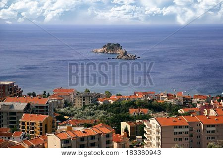 Sea view. Beautiful Adriatic sea. Budva riviera. Beautiful nature