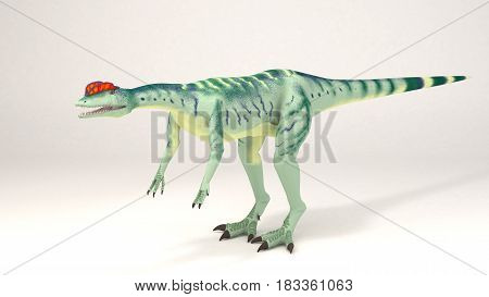 3D Computer rendering illustration of Dilophosaurus dinosaur