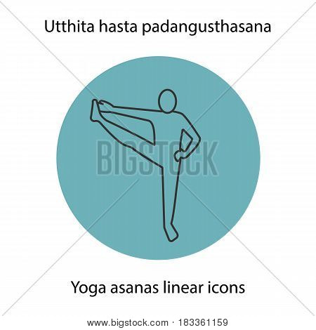 Utthita hasta padangusthasana yoga position. Linear icon. Thin line illustration. Yoga asana contour symbol. Vector isolated outline drawing