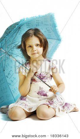 beautiful little girl with umbrella
