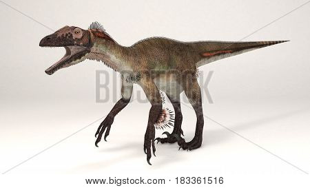 3D Computer rendering illustration of Utahraptor dinosaur
