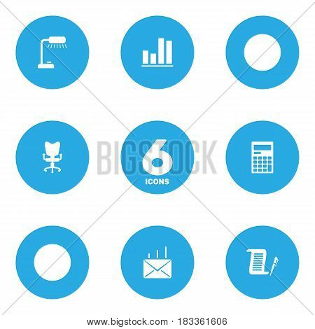 Set Of 6 Bureau Icons Set.Collection Of Diagram, Mail, Calculator And Other Elements.