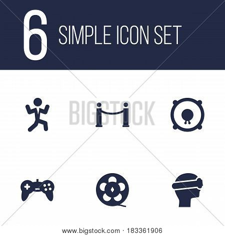 Set Of 6 Pleasure Icons Set.Collection Of Loudspeakers, Joystick, Cyberspace And Other Elements.