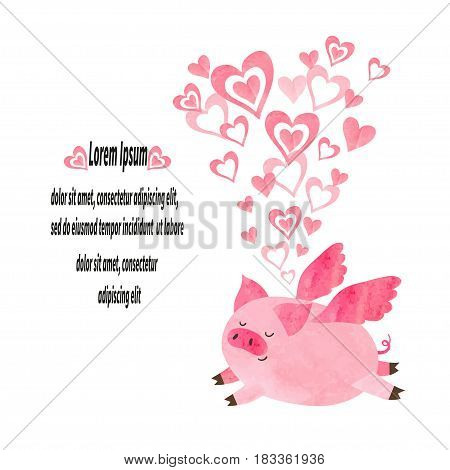 Cute pig in love. Vector illustration of flying piggy. Valentines Day card design.