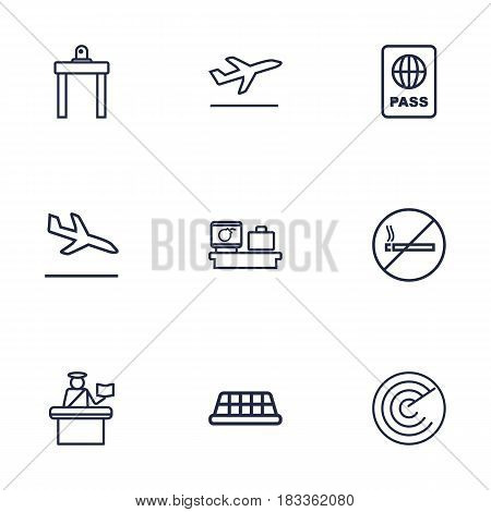 Set Of 9 Airplane Outline Icons Set.Collection Of Detection, Airport Security, No Smoking And Other Elements.