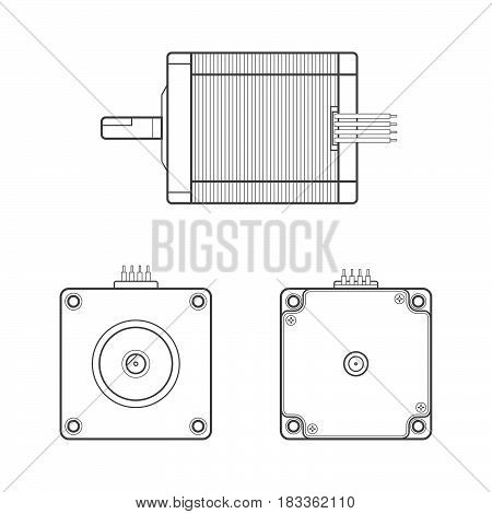 Vector Electric Motor Outline Illustration.