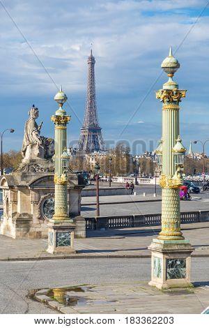 Eiffel Tower and Place de la Concorde in Paris