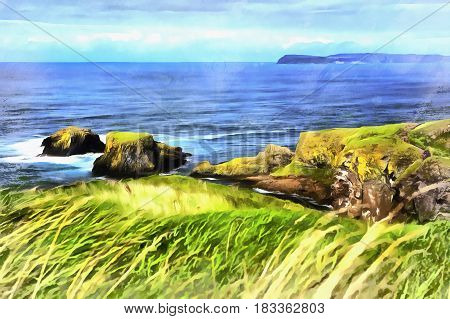 Colorful painting of Causeway Coast, Northern Ireland