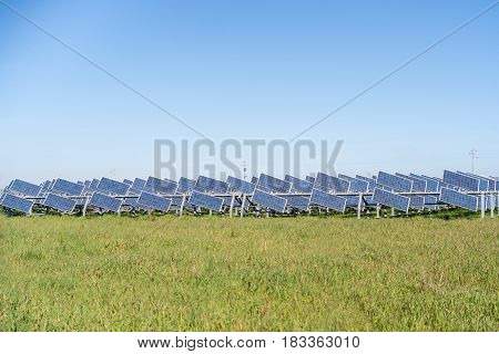 Small Solar Panels On Green Grass