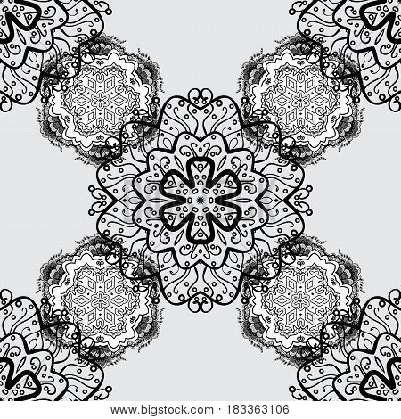 Dim element on gray background. Luxury royal and Victorian concept. Ornate vector decoration. Vintage baroque floral seamless pattern in dim over gray.