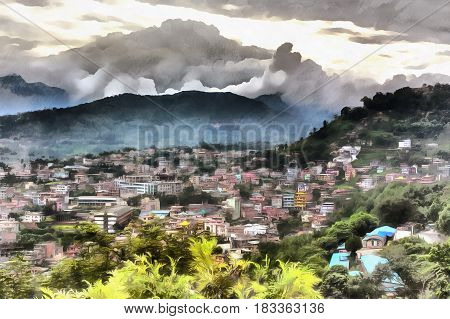 Colorful painting of cityscape from Swayambhunath, Kathmandu, Nepal