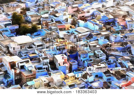 Colorful cityscape painting of Jodhpur, Rajasthan, India