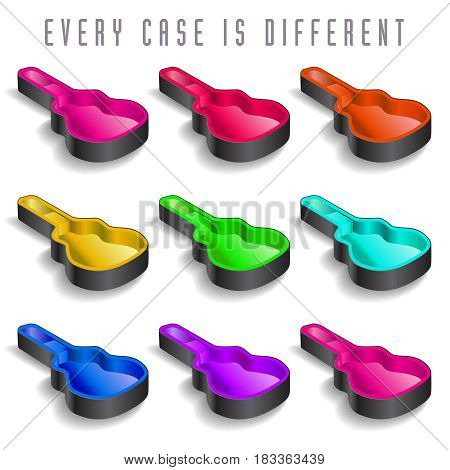 A rainbow of nine guitar cases for print or web