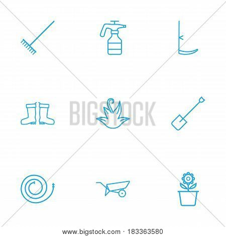 Set Of 9 Horticulture Outline Icons Set.Collection Of Spade, Plant Pot, Harrow And Other Elements.