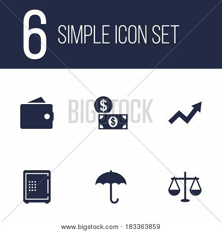 Set Of 6 Finance Icons Set.Collection Of Strongbox, Purse, Money And Other Elements.