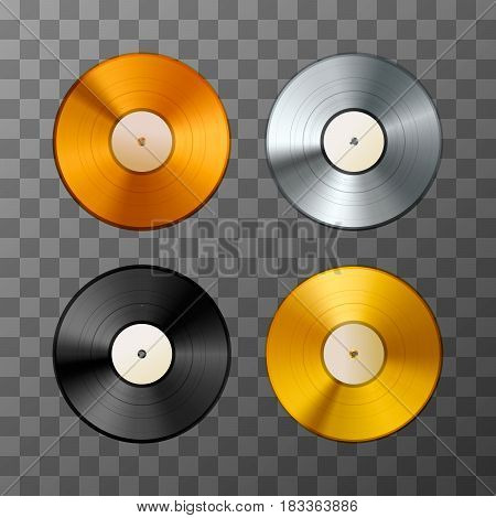 Set of golden, platinum and bronze album, vinyl discs on transparent background