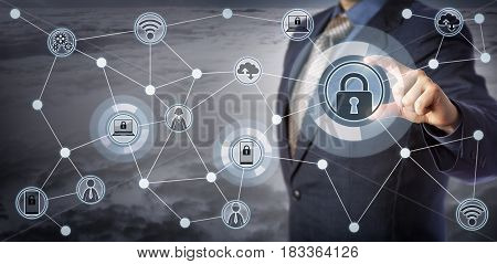 Blue chip executive locking laptop and mobile in a wireless communication network. Concept for internet of things security smart devices management remote access control and mobility as a service.