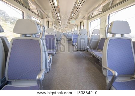 empty seats in train wagon indoor with nobody