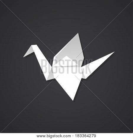 Origami paper crane on dark background. Simple and stylish logo symbol.
