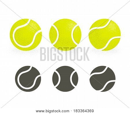 Tennis balls set. Black silhouette icons and realistic color version. Retro style stipple shading.