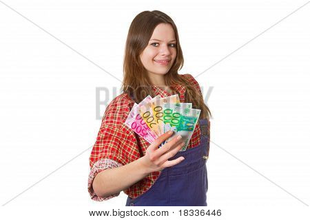 Young friendly craftswoman with euro banknotes isolated on white background poster