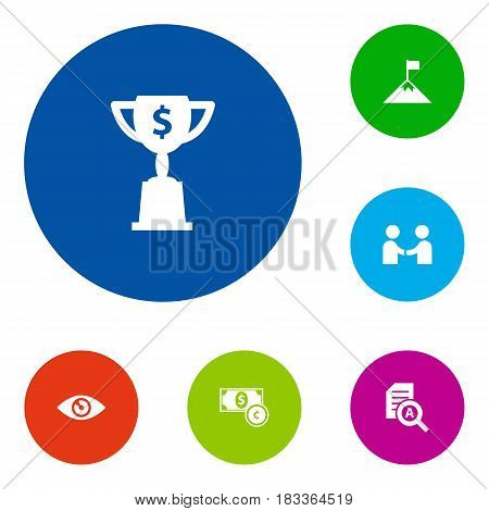 Set Of 6 Business Icons Set.Collection Of Document Checking, Achievement, Goblet And Other Elements.