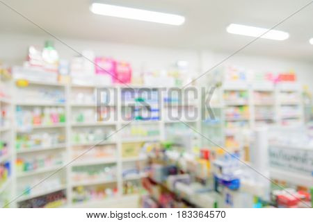 Pharmacy interior shop with blurred image background.